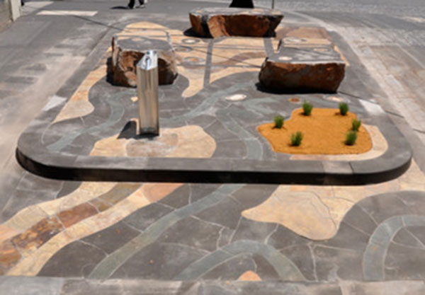 Stones and Petrified Wood Sculptural Streetscape